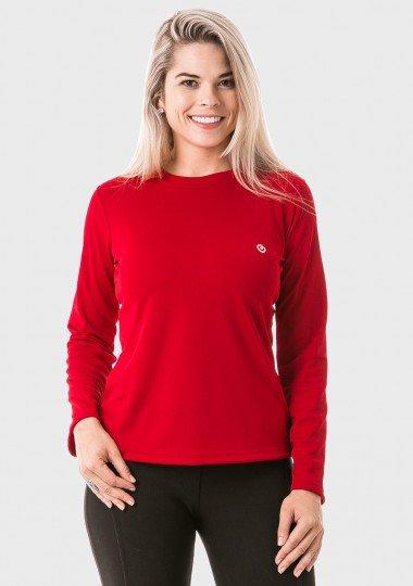 feminina t shirt longa dry vermelha frente c