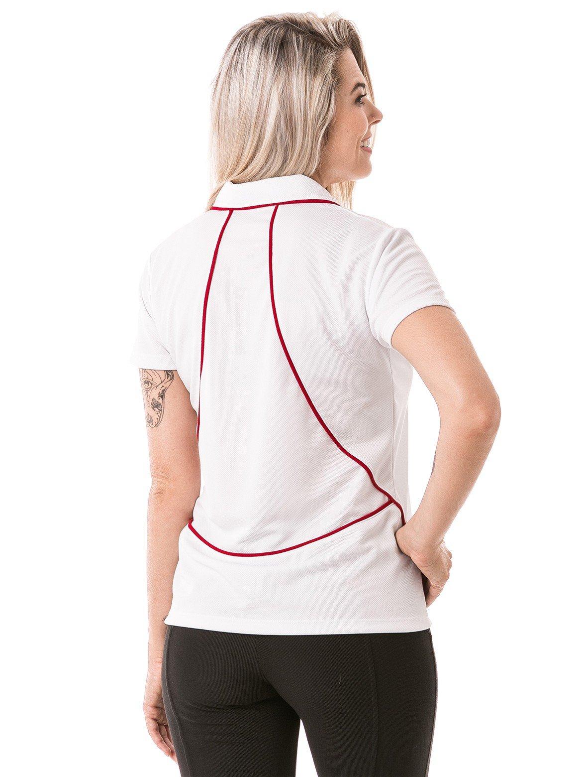 femina polo curta dry branco costas b
