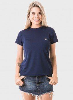 feminina t shirt curta dry azul frente c