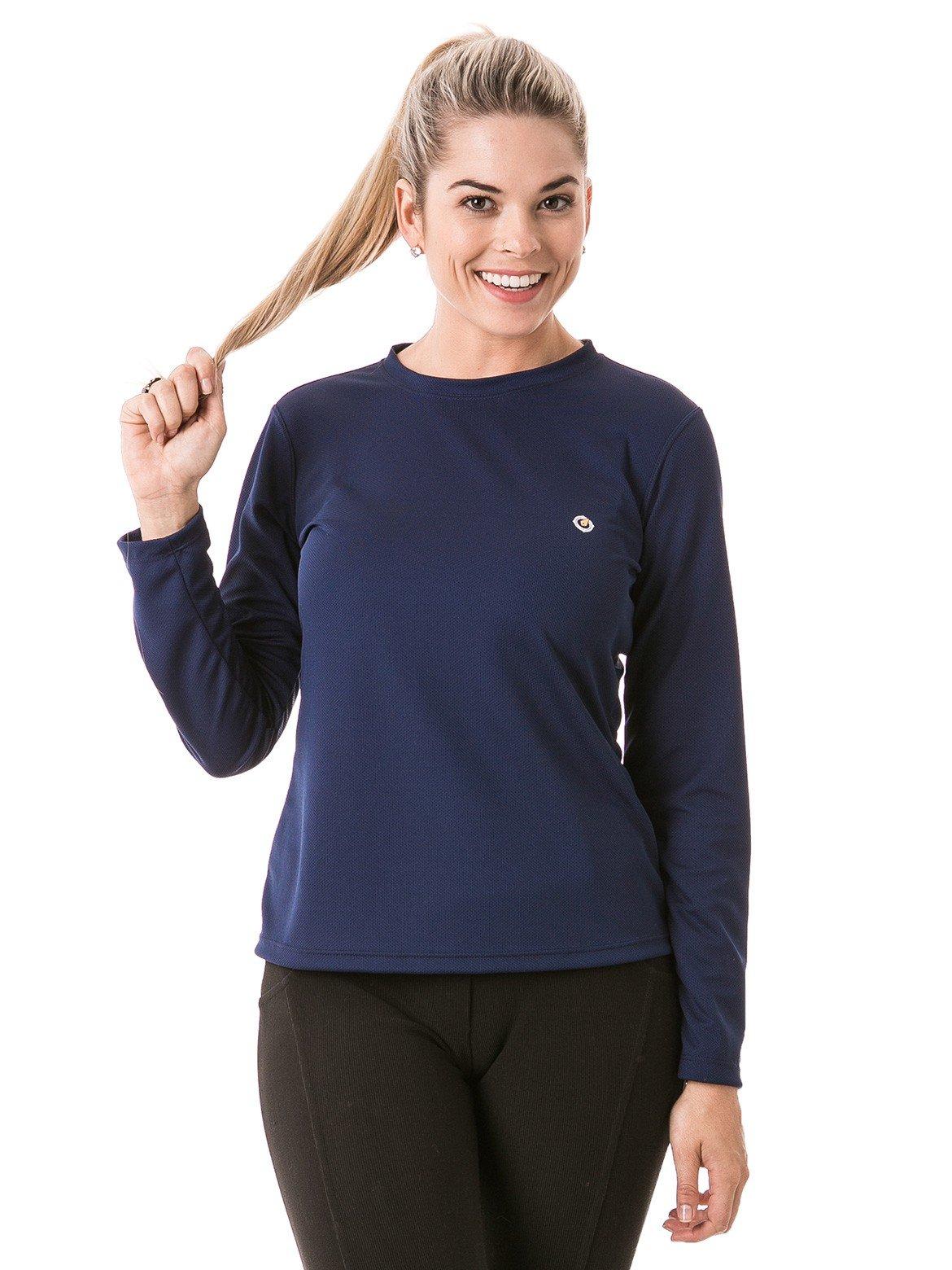 feminina t shirt longa dry azul frente b