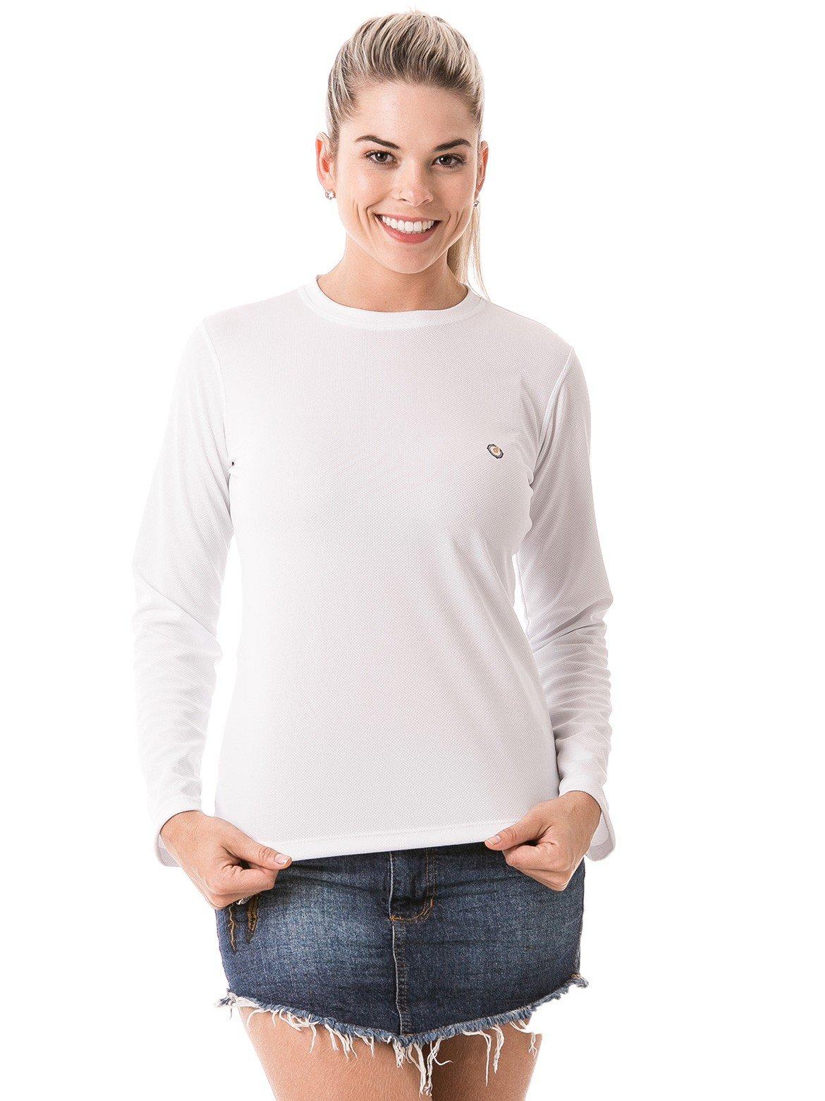feminina t shirt longa dry branca frente b