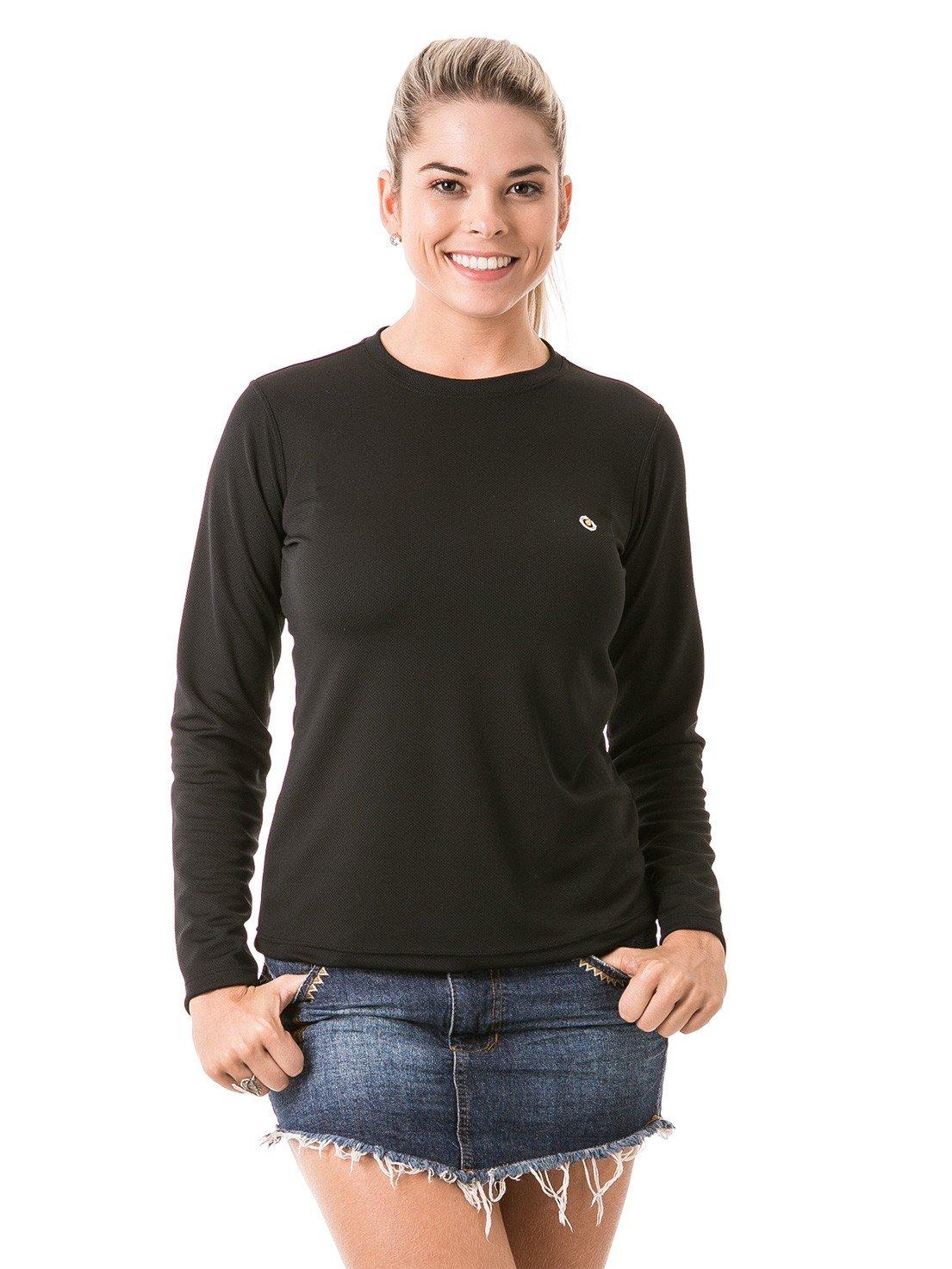 feminina t shirt longa dry preta frente 1 b