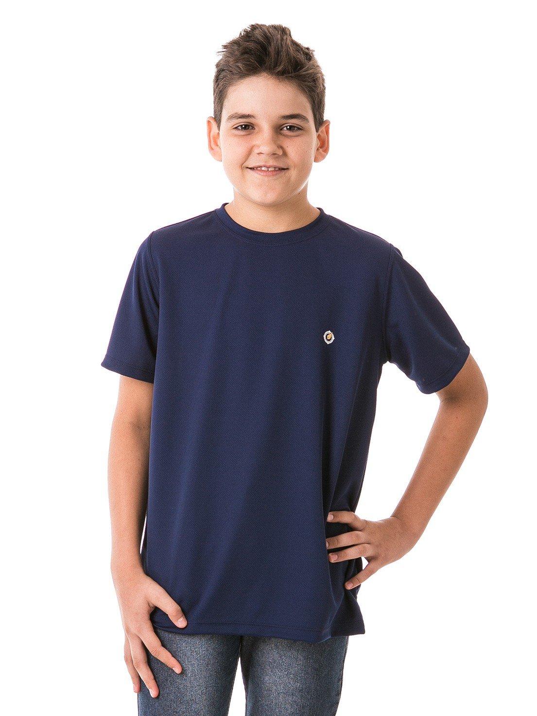 infantil masculinas t shirt curta dry azul frente b