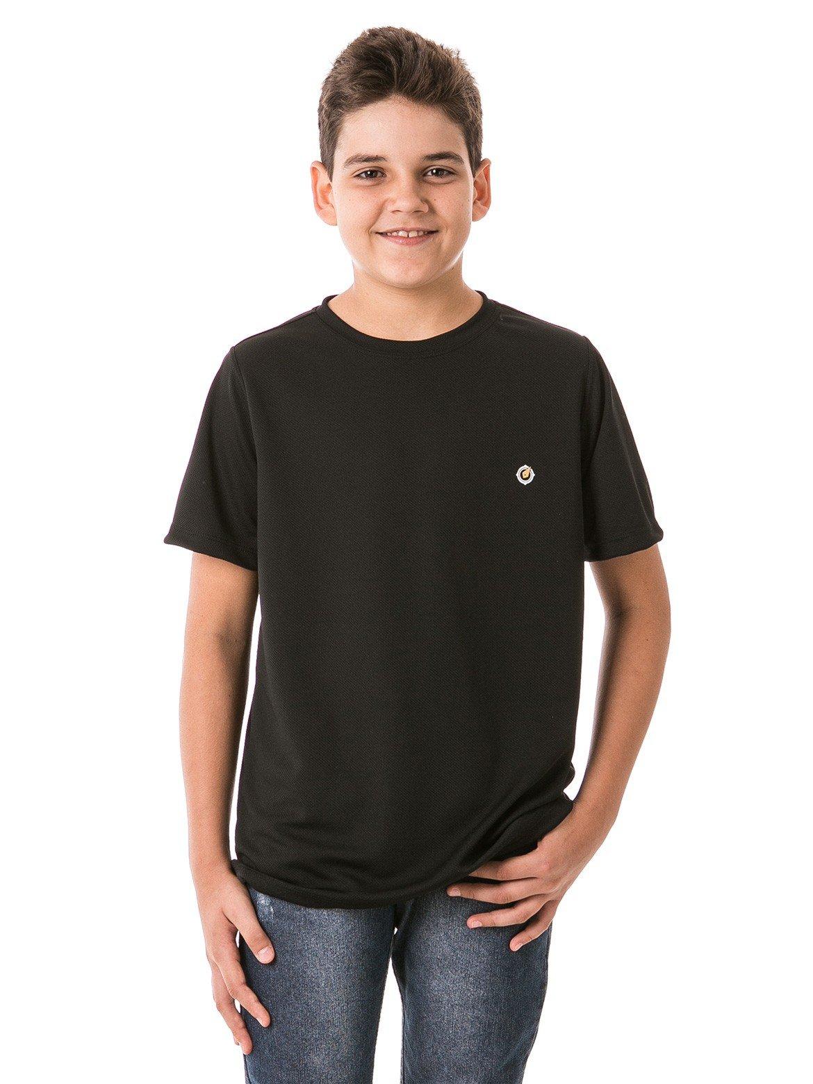 infantil masculinas t shirt curta dry preta frente b