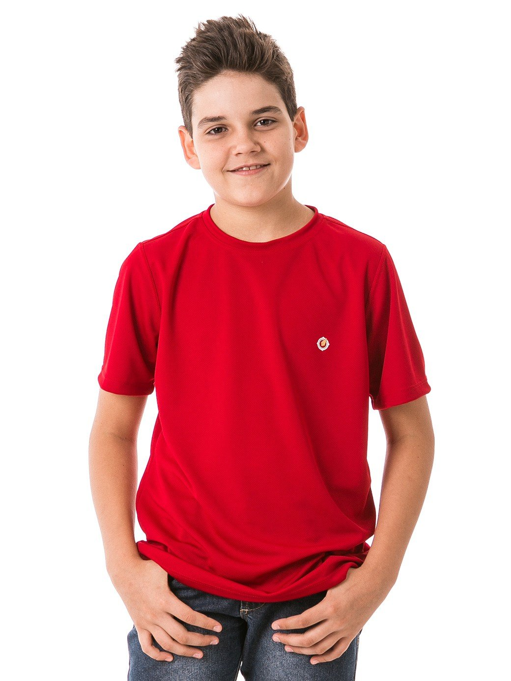 infantil masculinas t shirt curta dry vermelha frente b