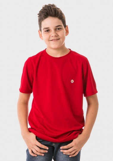 infantil masculinas t shirt curta dry vermelha frente c