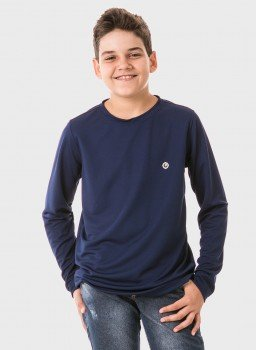 infantil masculinas t shirt longa dry azul frente c