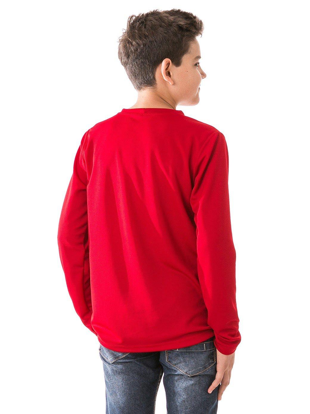 infantil masculinas t shirt longa dry vermelha costas b