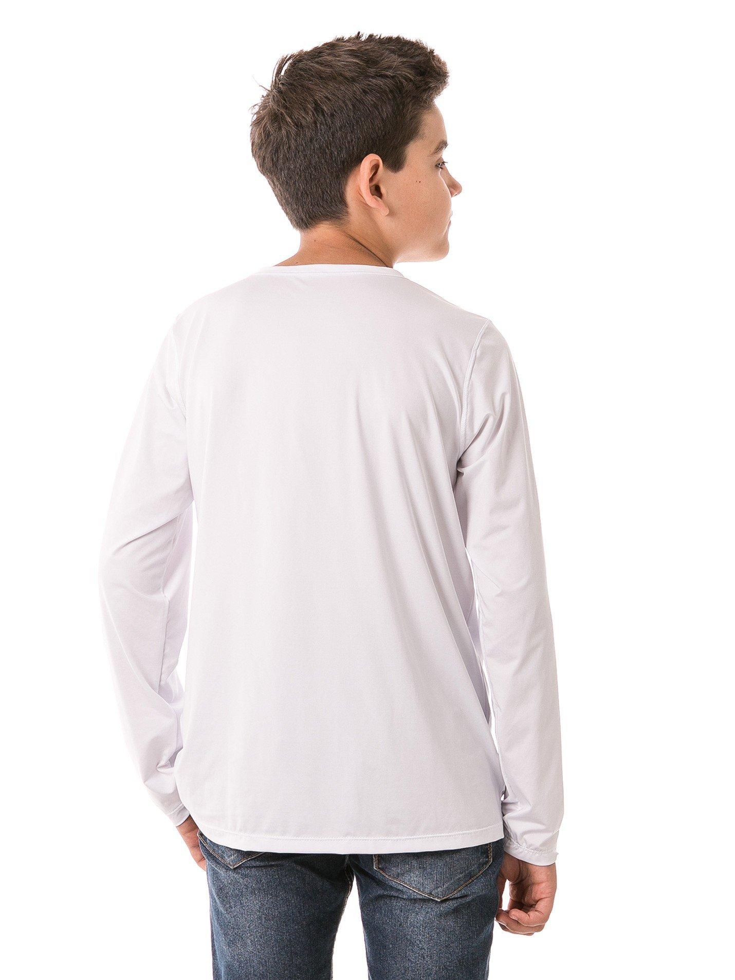 infantil masculinas t shirt longa ice branca costas b