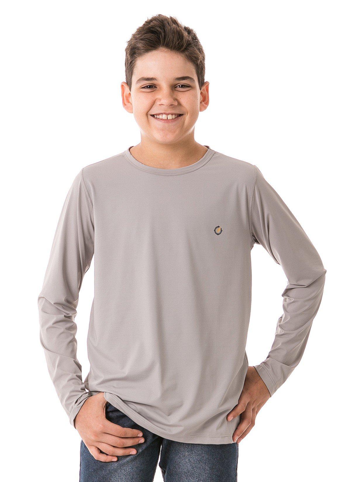 infantil masculinas t shirt longa ice cinza frente b