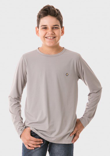 infantil masculinas t shirt longa ice cinza frente c