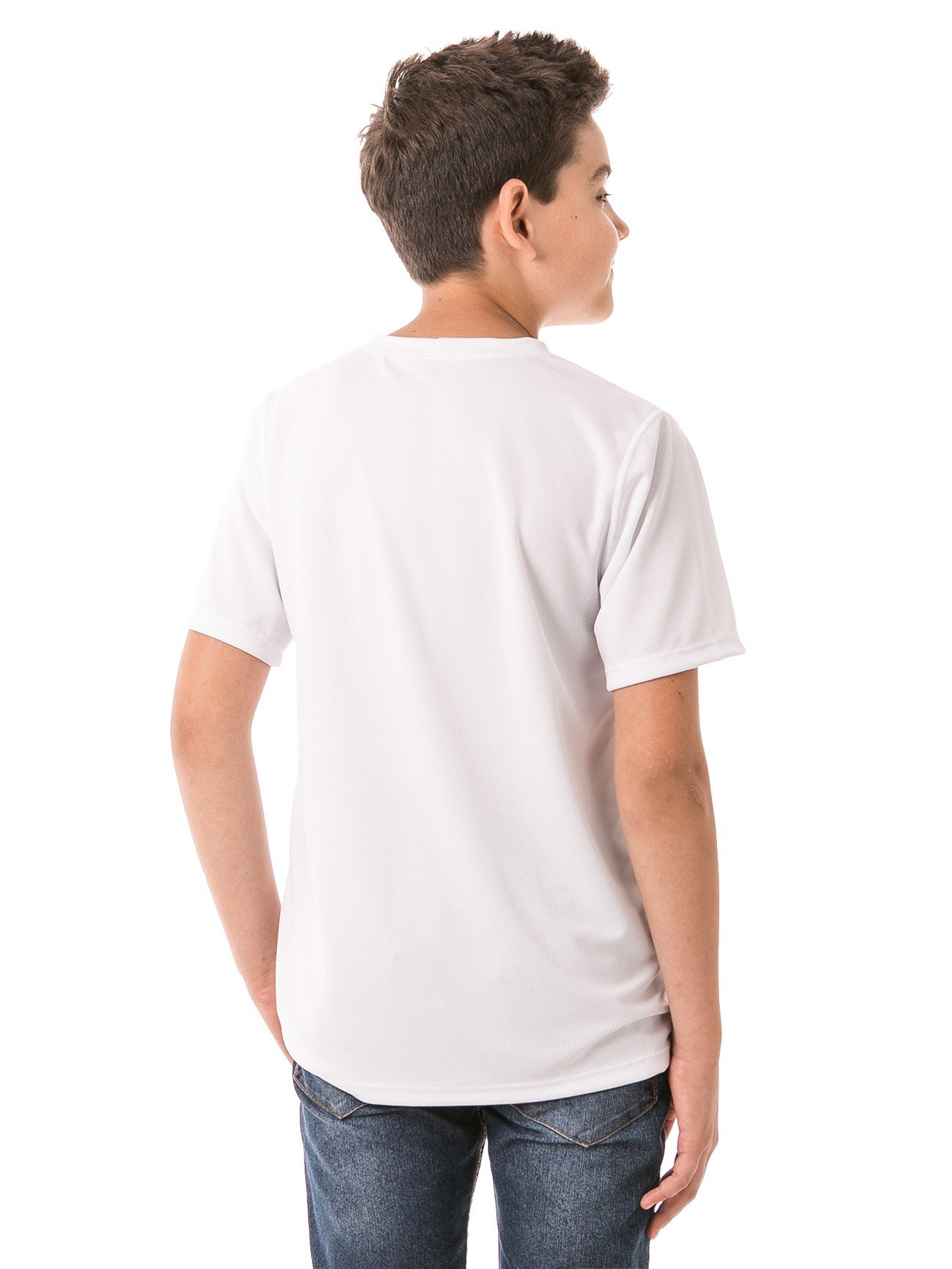 infantil masculinas t shirt curta dry branca costas b