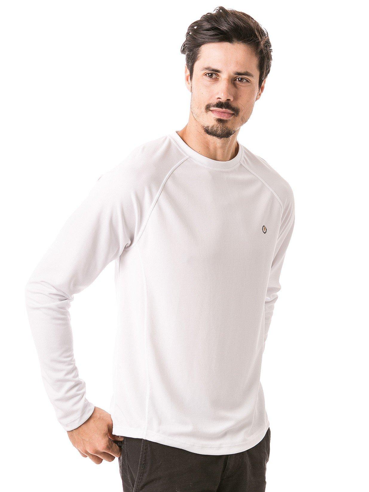 camisa masculina raglan gola redonda longa dry branca lateral b