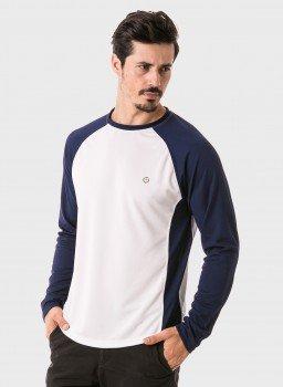 camisa masculina raglan gola redonda longa dry manga azul lateral b c