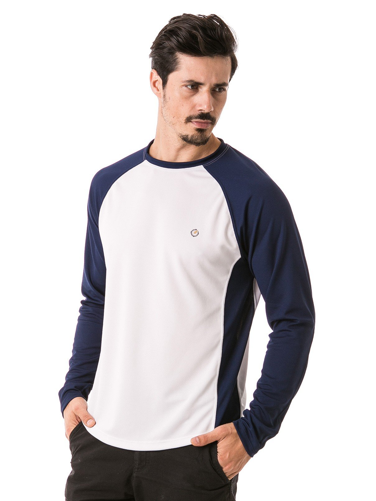 camisa masculina raglan gola redonda longa dry manga azul lateral b