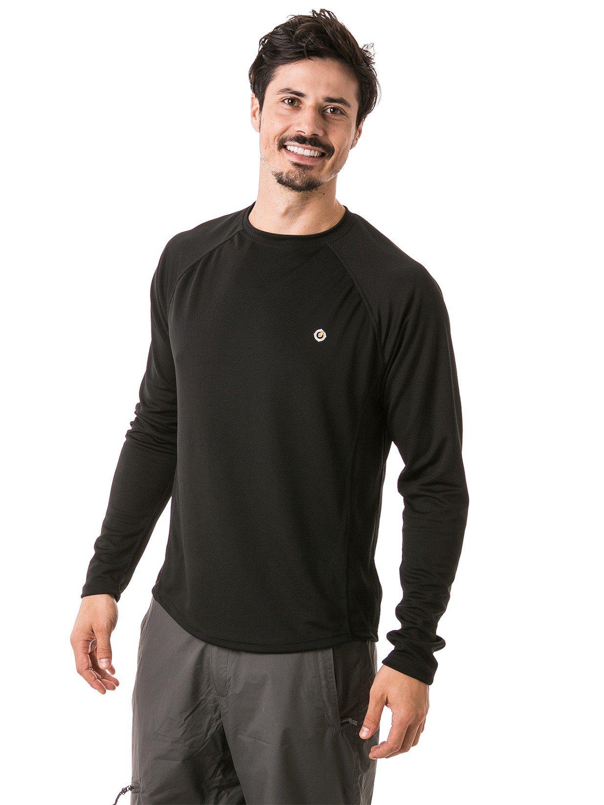 camisa masculina raglan gola redonda longa dry preta frente b
