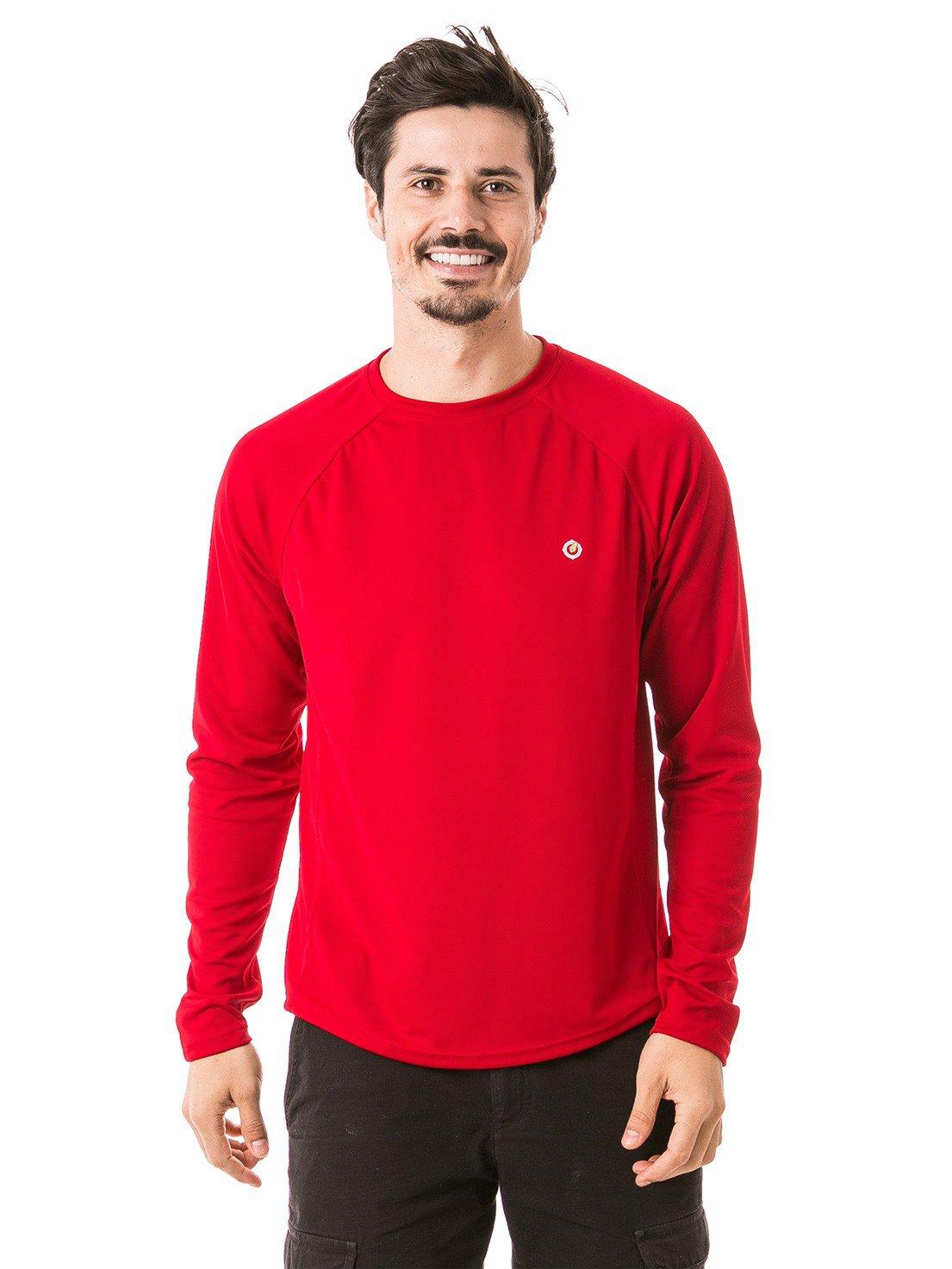 camisa masculina raglan gola redonda longa dry vermelha frente 3 b