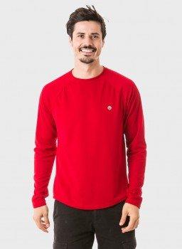 camisa masculina raglan gola redonda longa dry vermelha frente 3 c