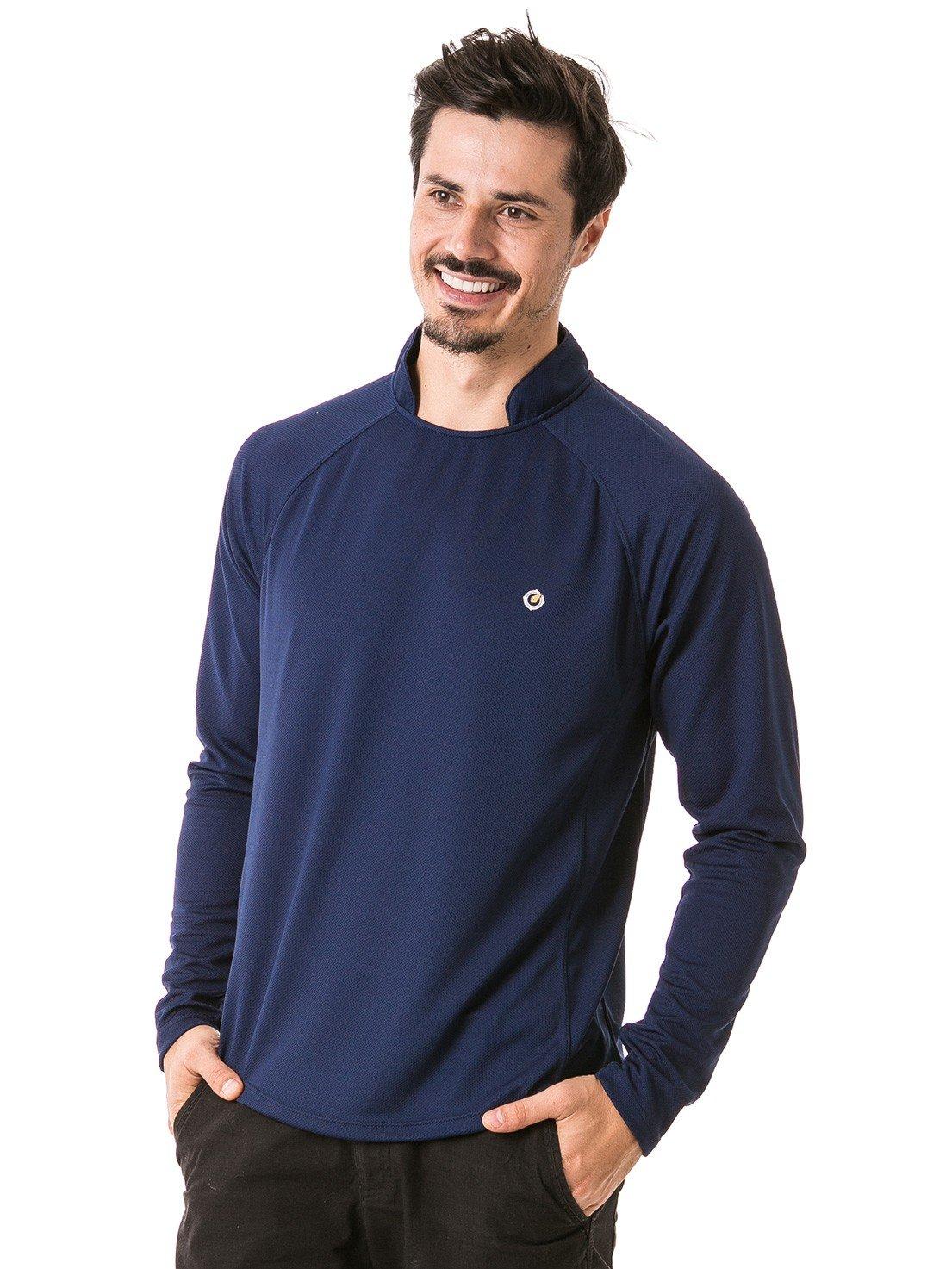 camisa masculina raglan gola alta longa dry azul lateral b