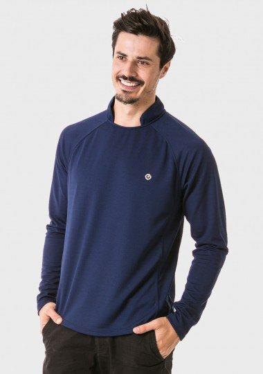 camisa masculina raglan gola alta longa dry azul lateral c