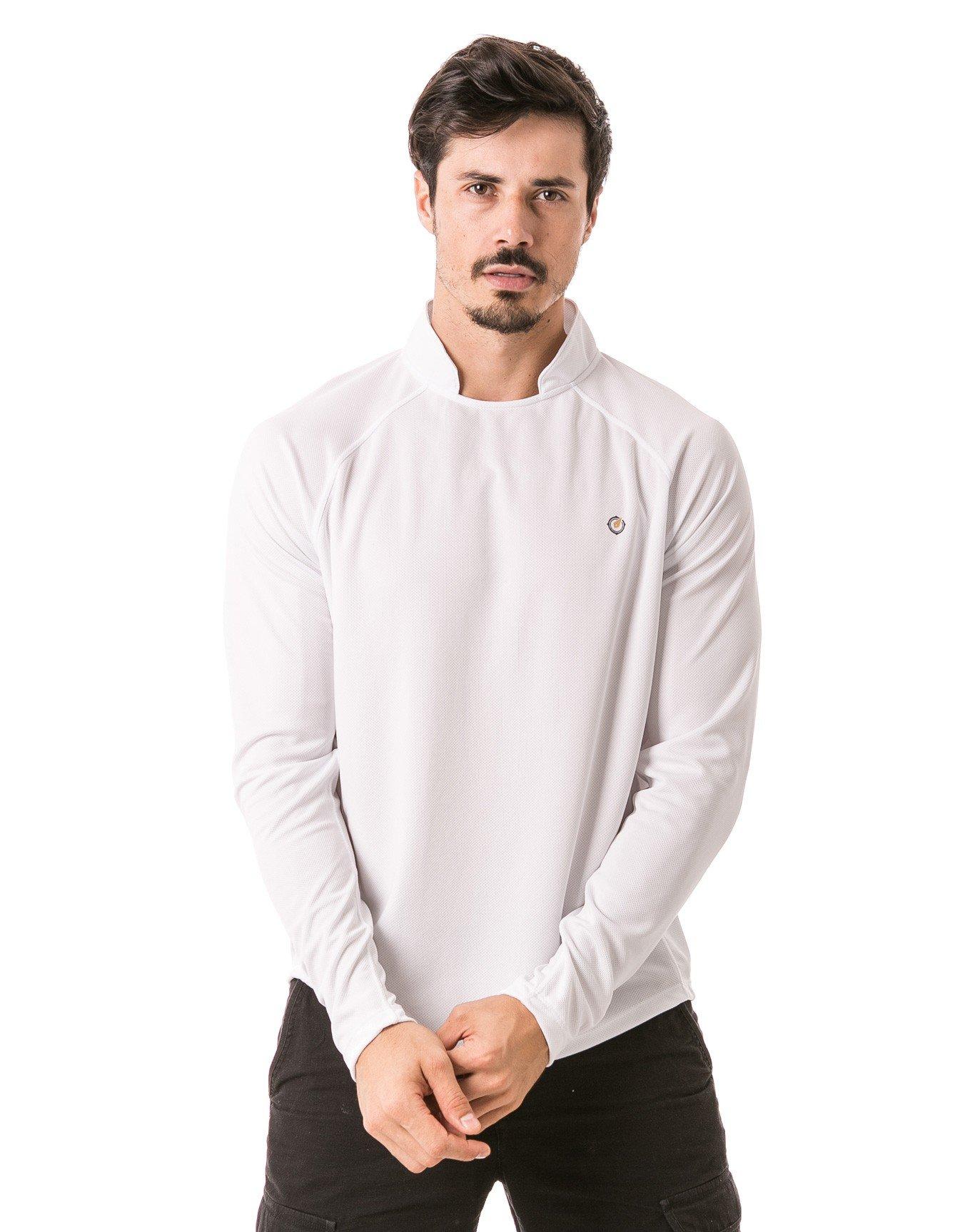 camisa masculina raglan gola alta longa dry branca frente 3 b