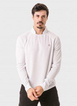 camisa masculina raglan gola alta longa dry branca frente 3 c