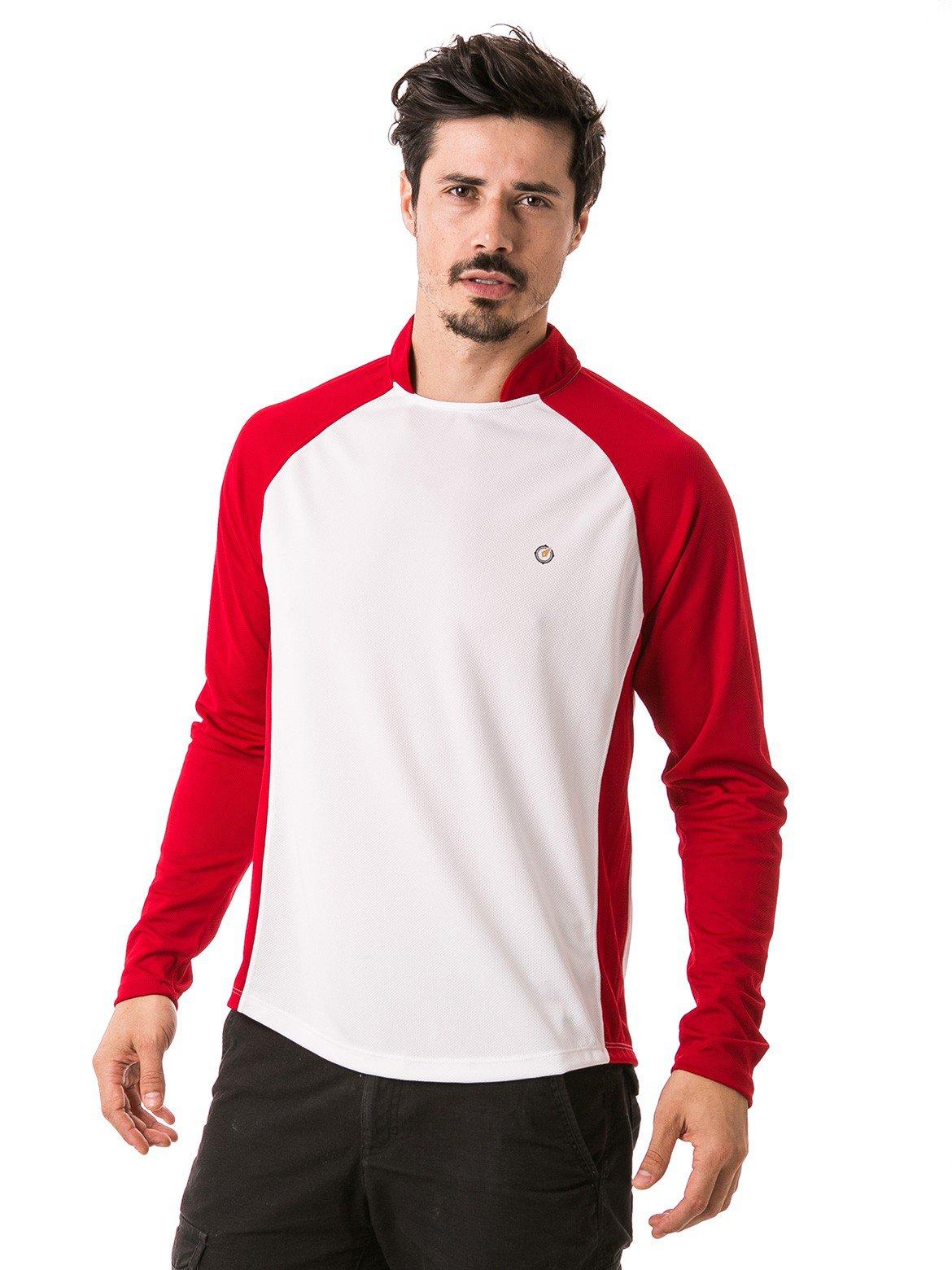 camisa masculina raglan gola alta longa dry manga vermelha frente b