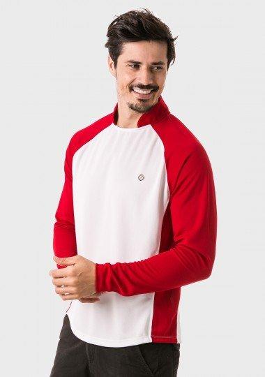 camisa masculina raglan gola alta longa dry manga vermelha lateral c
