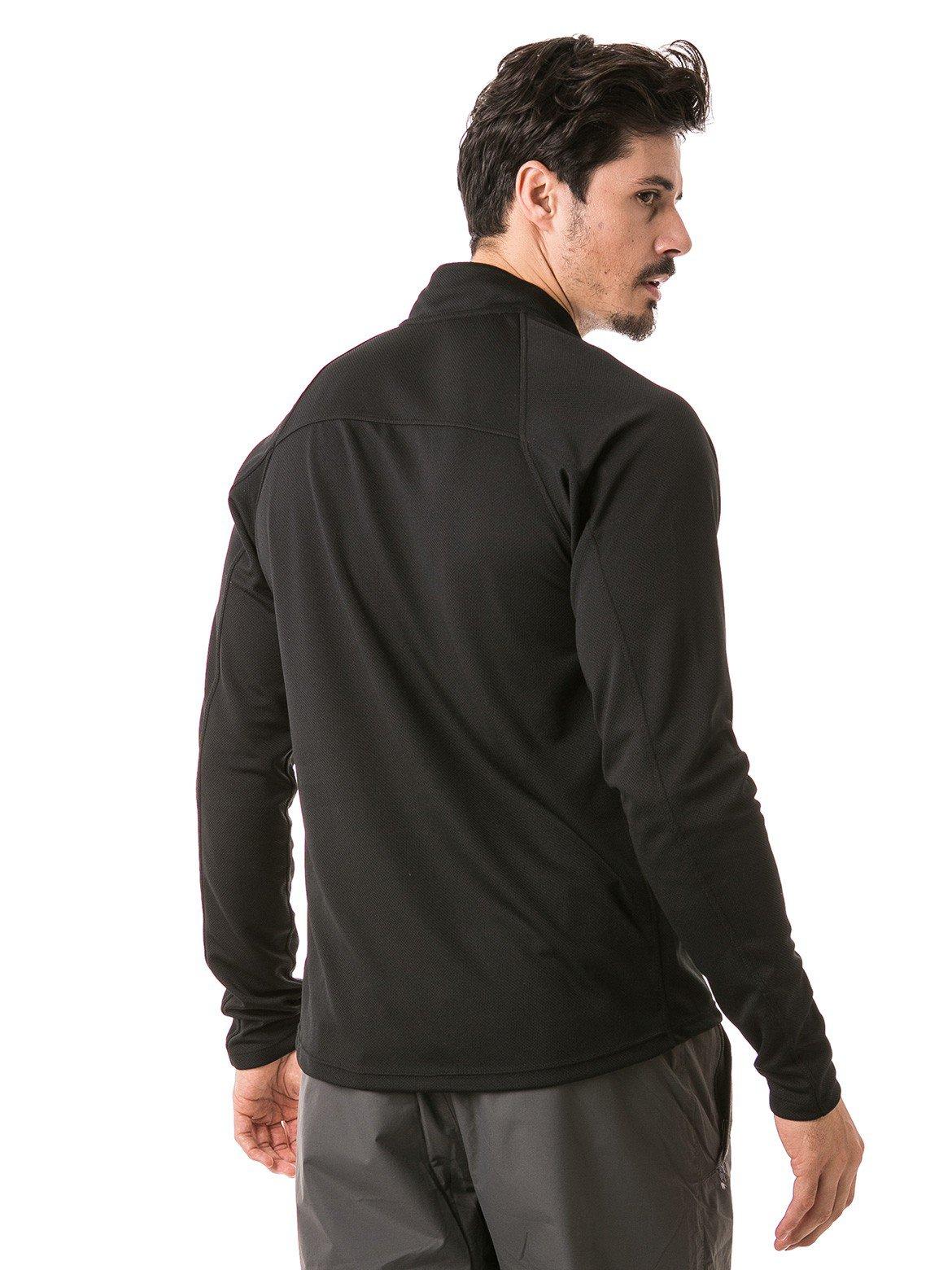camisa masculina raglan gola alta longa dry preta costas b