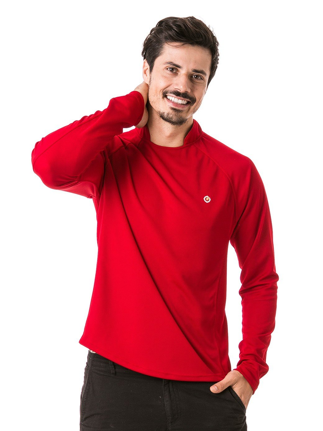 camisa masculina raglan gola alta longa dry vermelha frente b
