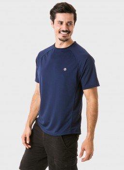 camisa masculina raglan gola redonda curta dry azul frente c