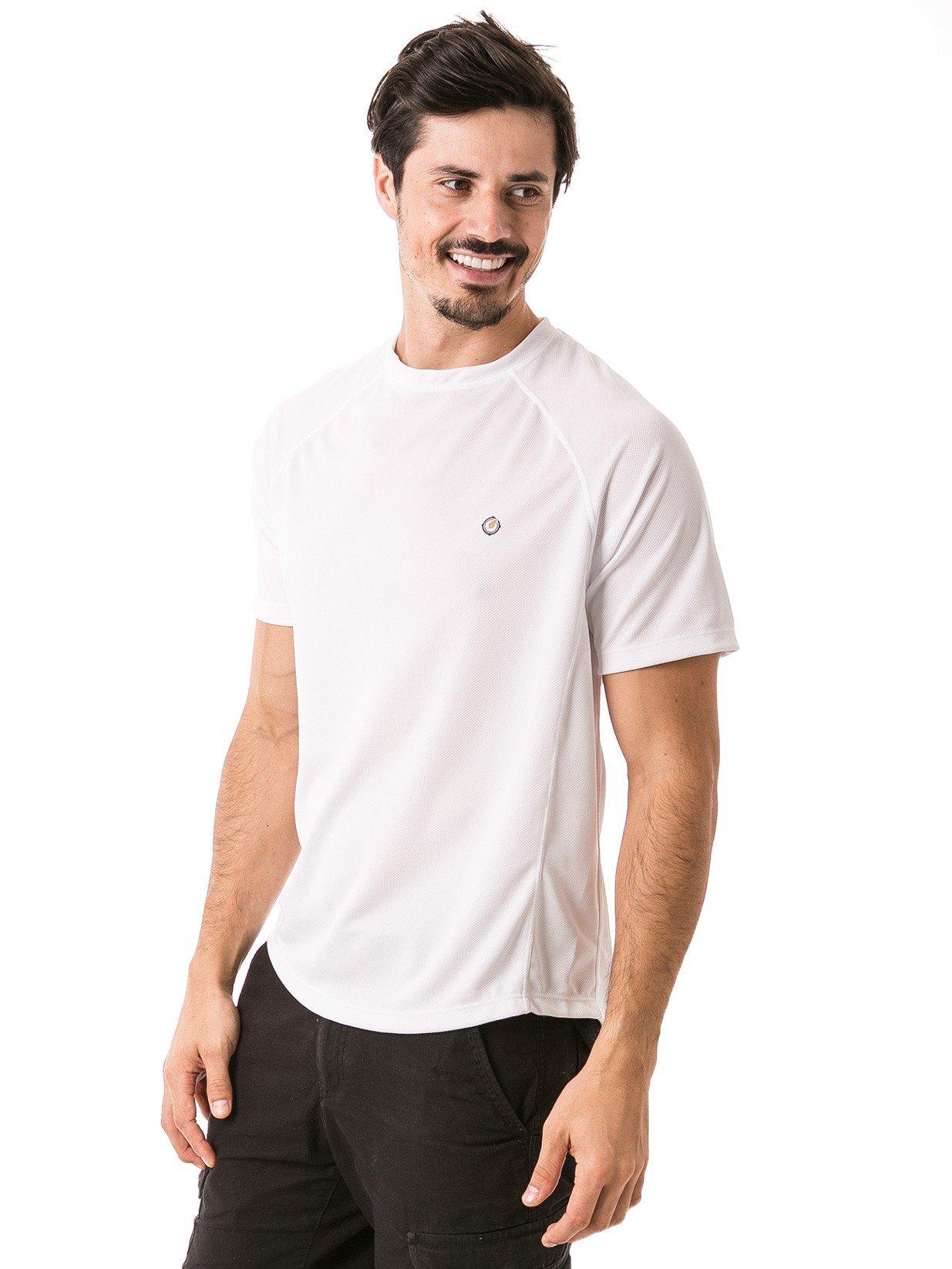 camisa masculina raglan gola redonda curta dry branca frente b