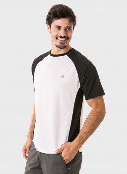 camisa masculina raglan gola redonda curta dry manga preta frente c