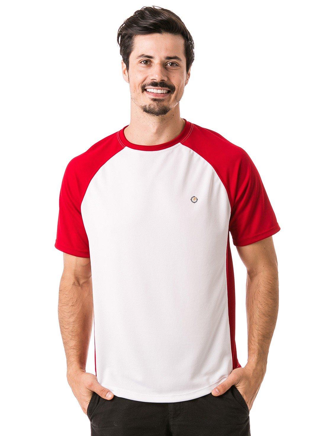 camisa masculina raglan gola redonda curta dry manga vermelha frente 2 b