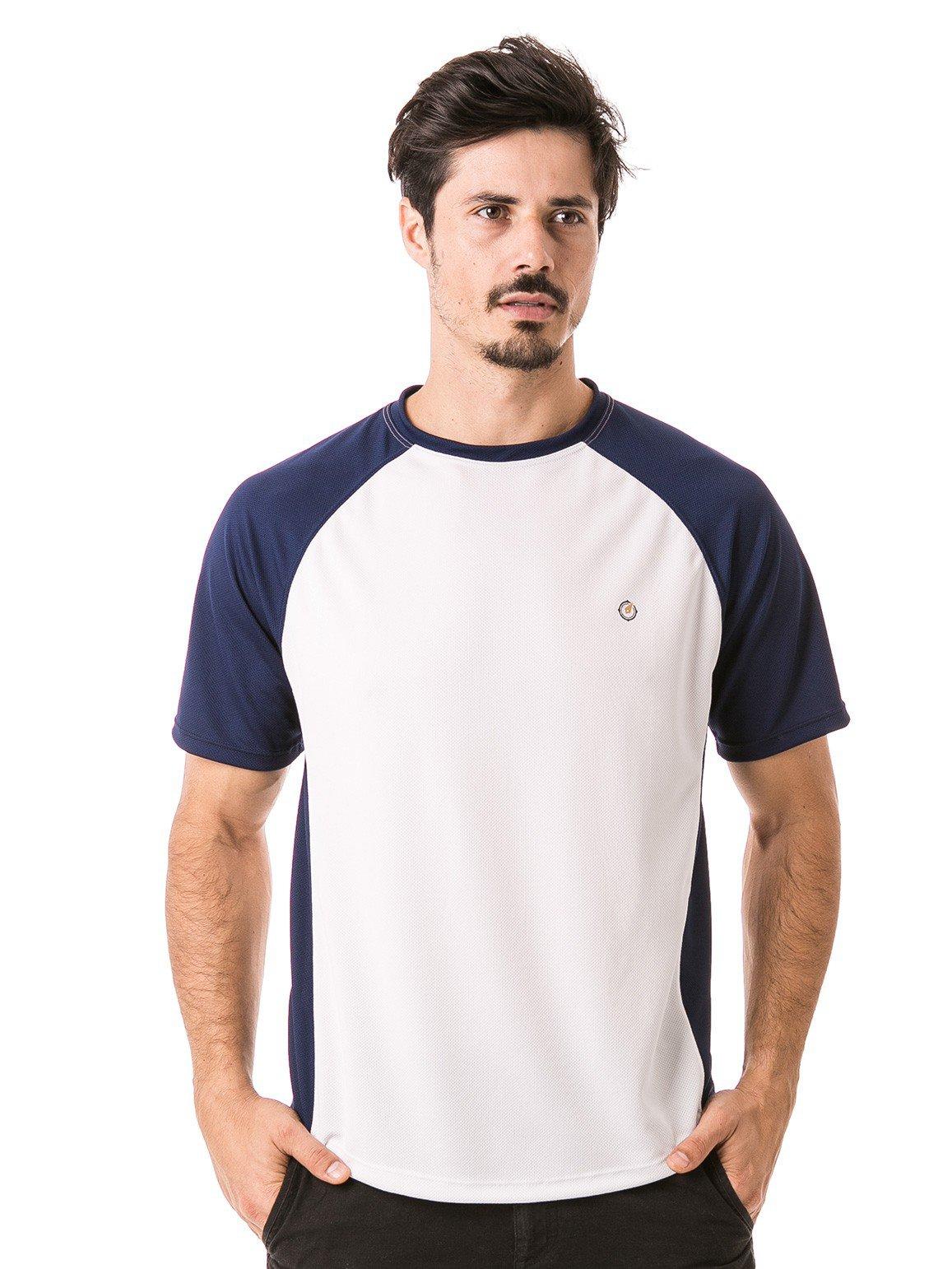 camisa masculina raglan gola redonda curta dry manga azul frente b