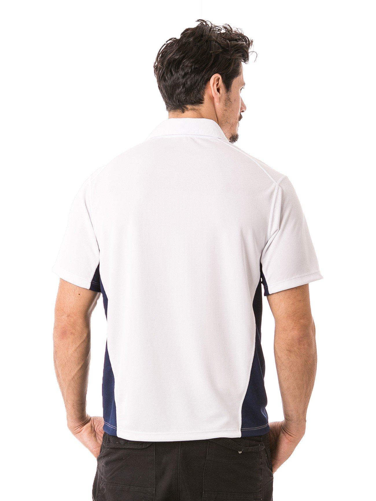 masculina polo detalhe curta dry branca com azul costas b