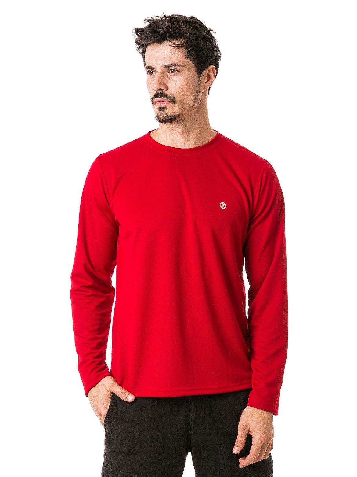 masculina t shirt longa dry vermelha frente b