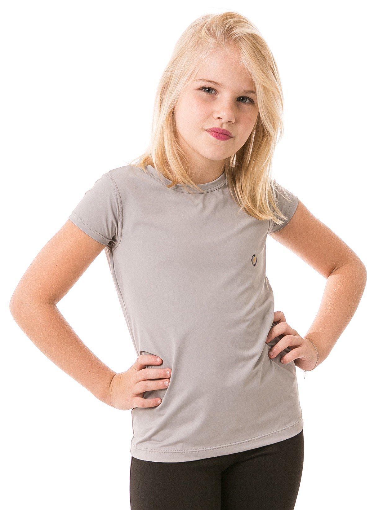 feminina infantil t shirt curta ice cinza frente b