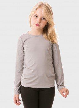 feminina infantil t shirt longa ice cinza frente c