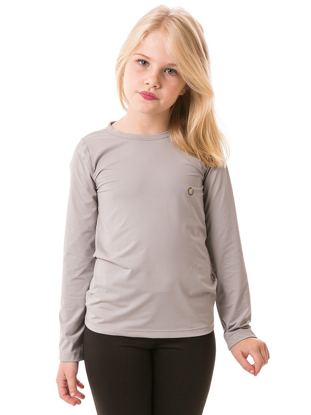 feminina infantil t shirt longa ice cinza frente b
