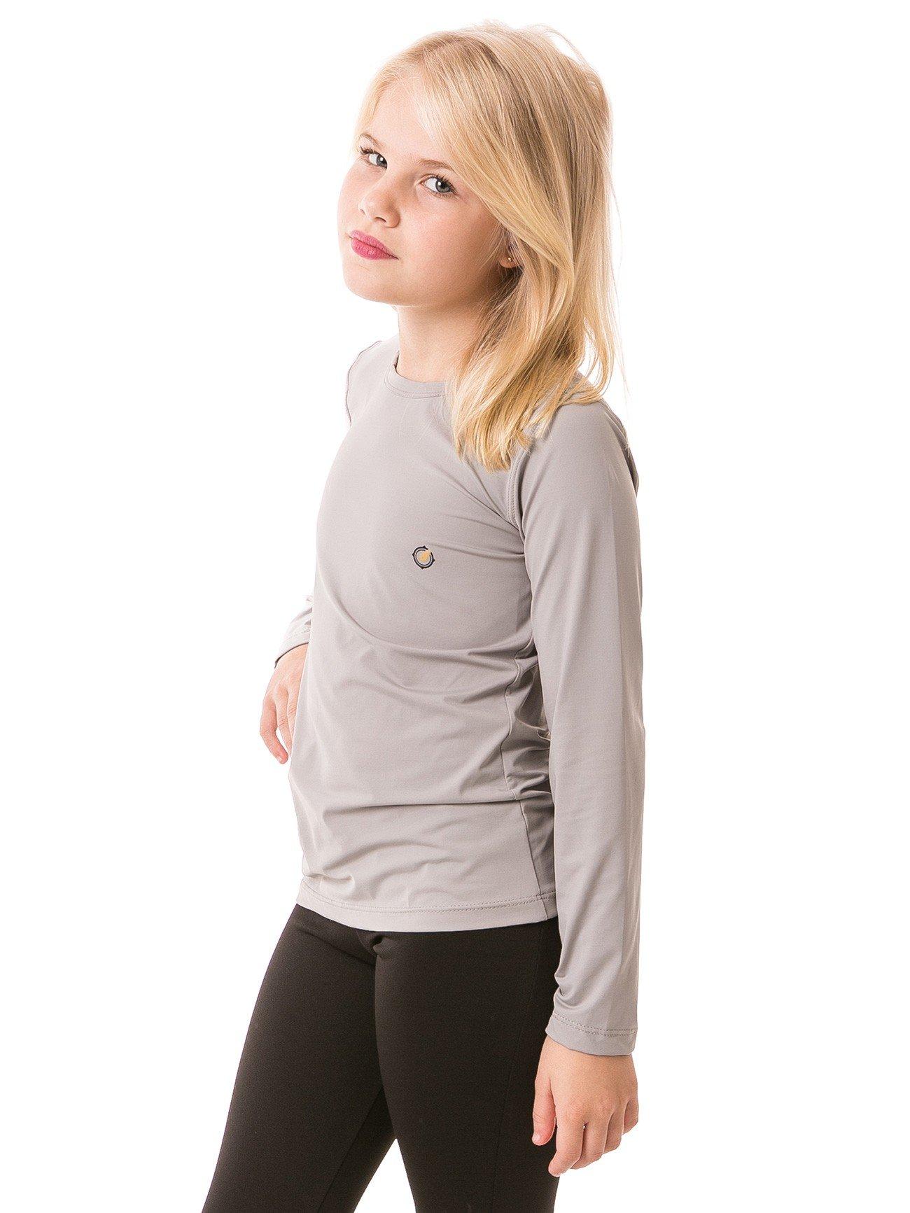 feminina infantil t shirt longa ice cinza lateral b