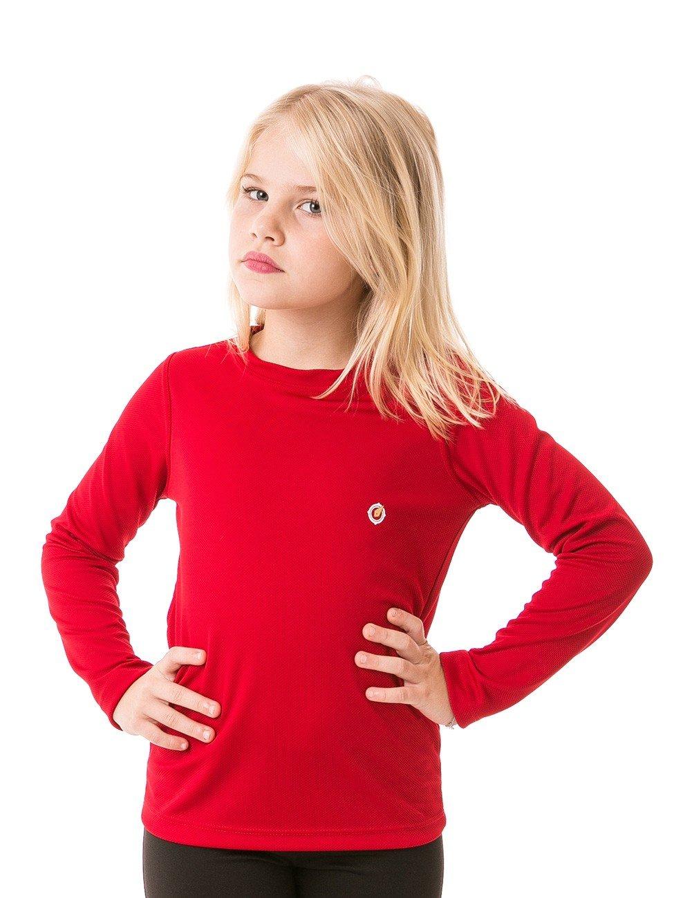 feminina infantil t shirt longa dry vermelha frente b
