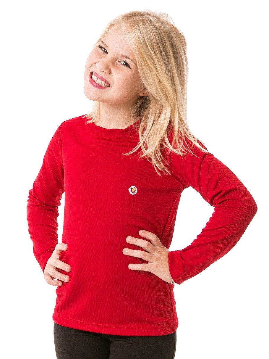 feminina infantil t shirt longa dry vermelha frente 2 b