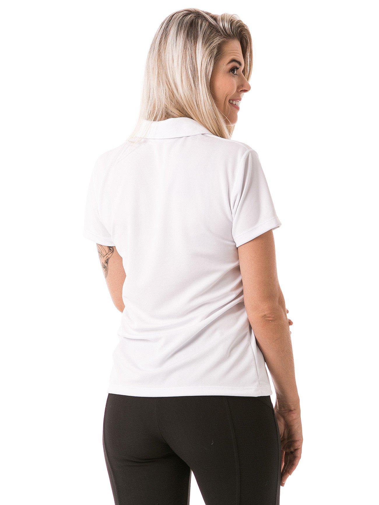 feminina polo manga curta dry branca costas b