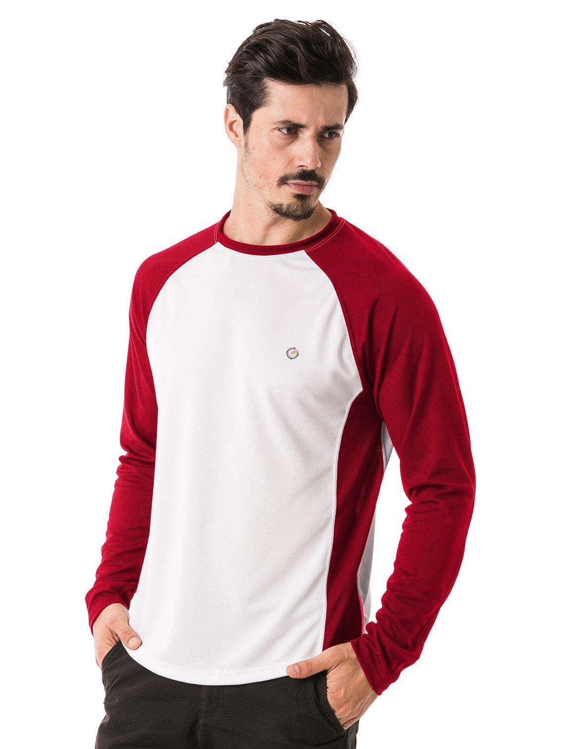 camisa masculina raglan gola redonda longa dry manga vermelha frente b