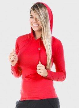 feminina raglna capuz longa vermelho frente c
