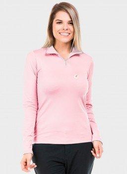 feminina t shirt thermo gola alta ziper rosa frente c