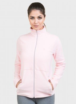 jaqueta feminina fleece lateral rosa