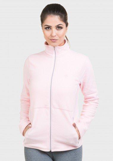jaqueta feminina fleece lateral rosa
