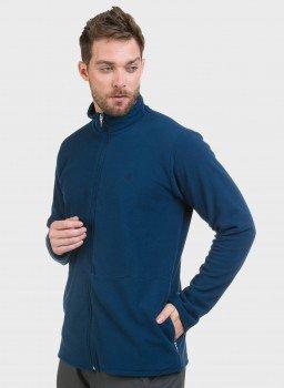 casaco masculino fleece azul lateral c